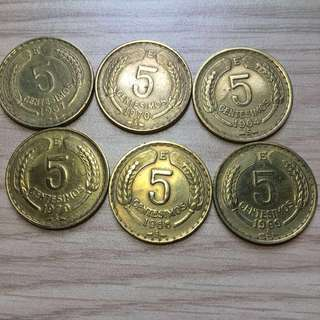 Republica De Chile 5 Centesimos Coin