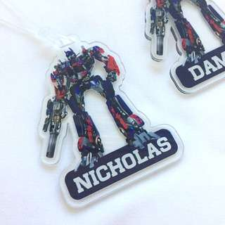 Personalised Transformers bagtag / luggage tag