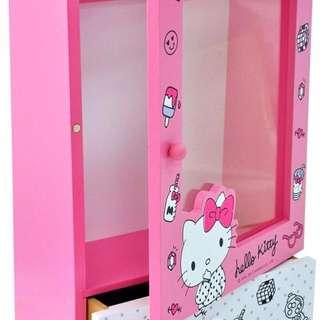🚚 KITTY 透明掛式收納盒 飾品盒 儲物盒 收納櫃 正版授權 KT貓 沂軒精品 U0007