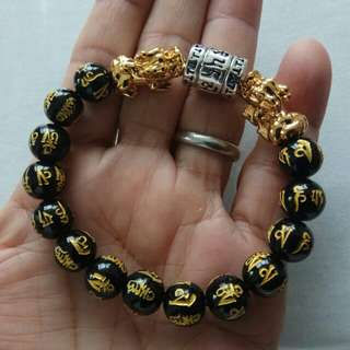 10mm Black Om Bracelet with Gold Plated Pixiu and Silver Om Column