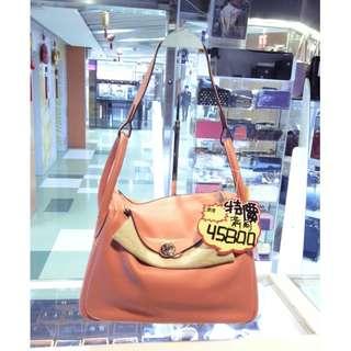 Hermes I5 Flamingo Pink Orange Leather Classic Lindy 30cm Shoulder Hand Bag PHW 愛馬仕 佛朗明哥粉橘 粉橙色 牛皮 皮革 經典款 30公分 手挽袋 手袋 肩袋 袋