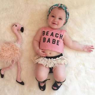🌟INSTOCK🌟 2pc Pink Beach Babe Tank Top and Fringe Shorts for Newborn Baby Toddler Girl Children Kids Everyday Wear