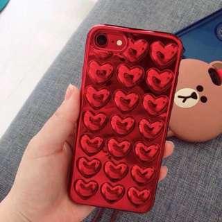 手機殻~IPhone7/8 Plus case  3D紅色心心