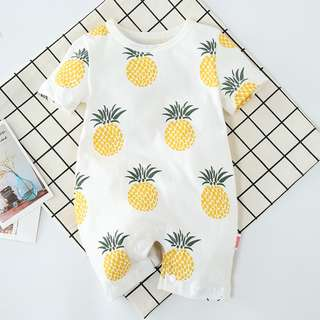 KOR093 Baby Toddler Girls Boys Unisex Pineapple Shortalls Romper