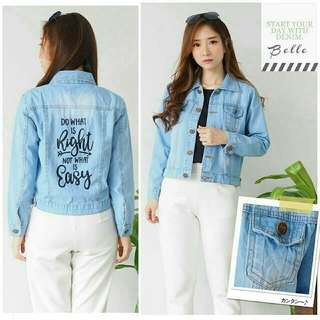 2 Warna easy jaket jeans wanita jaket wanita bahan jeans overall jeans