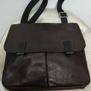 Tas Pria FOSSIL Mercer East West Men Messenger Bag Brown Leather Kulit Asli