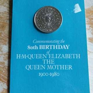英國皇家鑄幣厰1980年英皇太后八十大壽纪念幣套裝全新