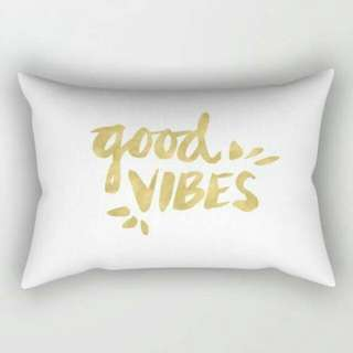 Gold And White Good Vibes Text Rectangle Throw Cushion Cover