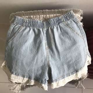 Denim Shorts w/ ruffles