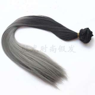 Black to grey clip Hair Extension (straight)