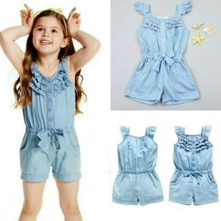 Kids Girls Rompers Denim Blue Cotton Washed Jeans