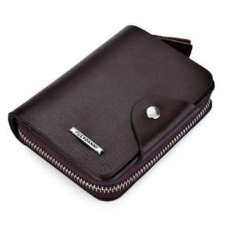 TOOTHPICK LINE SOLID COLOR LETTER HASP ZIPPER SHORT WALLET (COFFEE) VERTICAL