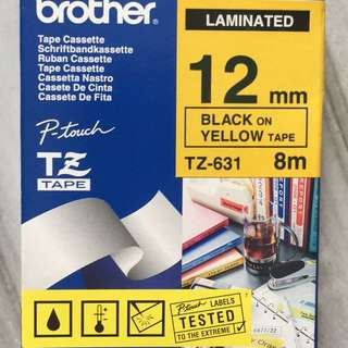 Brother TZ Tapes - For Label Printer - Black on Yellow Tape - 12 mm