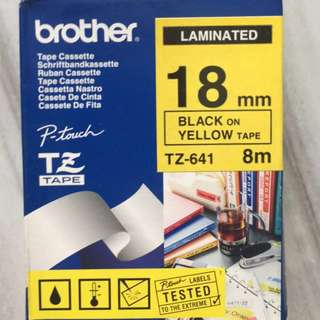 Brother TZ Tapes - For Label Printer - Black on Yellow tape - 18 mm