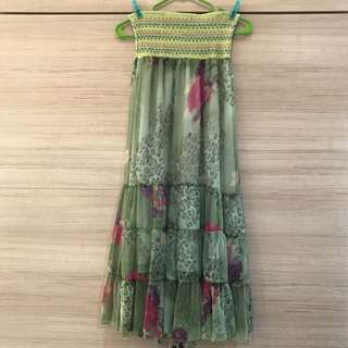 Green Floral Tube Maxi Dress