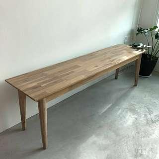 Scandinavian Distressed Solid Acacia Bench
