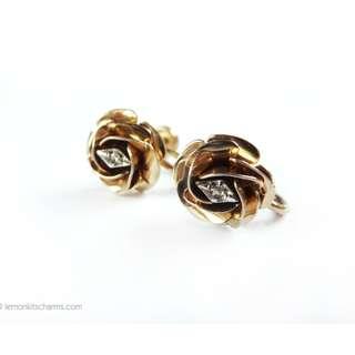 Vintage Genuine Diamond Gold-filled Rose Earrings, er1597-c