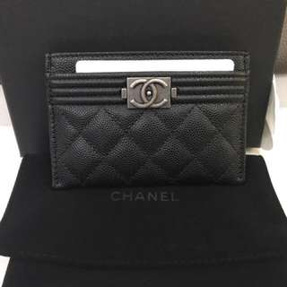 Chanel le boy card holder