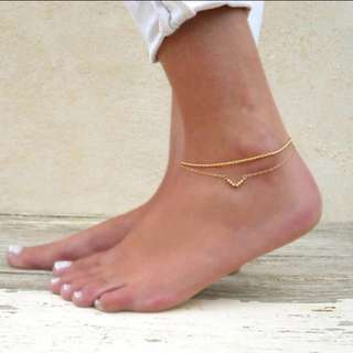 gold anklet, double chain