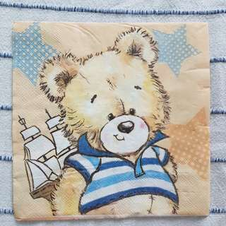 Napkin for Decoupage ( cute Teddy Bear)