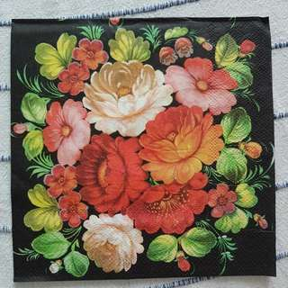 Napkin for Decoupage ( Flowers/ black background)