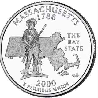 "USA 25 CENTS MASSACHUSETTE MA ""D"" USA 2000 COIN UNC"