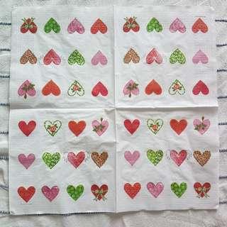 Napkin for Decouoage ( hearts )