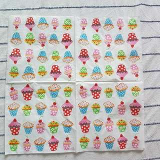 Napkin for Decoupage ( mini cup cakes)