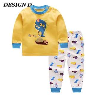 Kids Cotton Long Sleeved T-shirt + Pants (1 Set)
