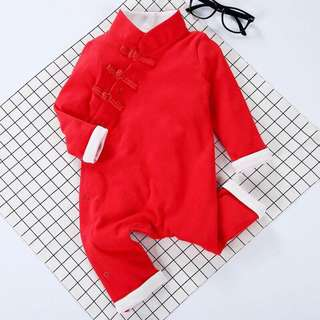 Red Cheongsam Romper / Onesies Chinese New Year for Baby Boys from 3-12 months