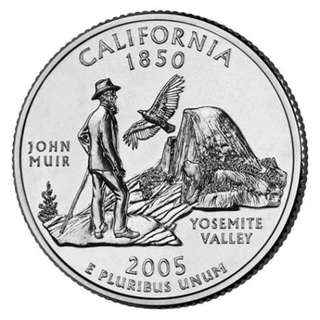 "USA 2005 25 CENTS CALIFORNIA YOSEMITE VALLEY ""D"" COIN UNC"