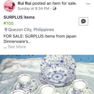 Surplus dinnerwares