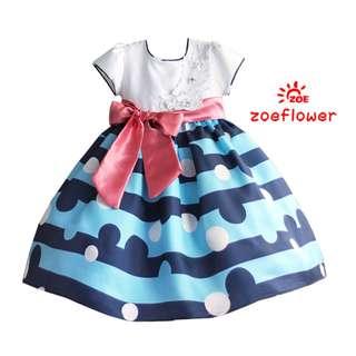 Blue Stripes with Pink Sash Elegant Dress
