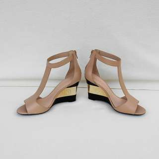 CHARLES & KEITH Gold Black Heels Wedges Sandals - ALMOST NEW