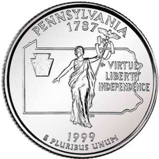 "USA 25 CENTS PA PENNSYLVANIA ""P""  1999 COIN UNC"