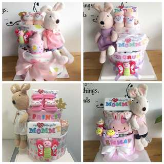 Baby Diaper Cake 2-Tier with Le Sucre Bunny for New Born / Full Month Party / Birthday Present