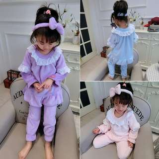 女童公主花邊睡衣三件套裝
