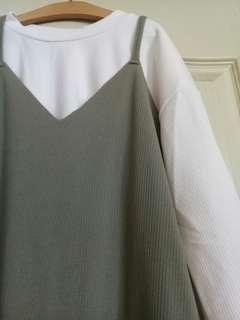 韓版細肩帶吊帶長裙