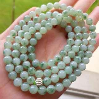 Grade A myanmar jade with cert 冰种飘花翡翠 108珠 高档翡翠 no nego