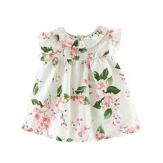 Summer Girl's Cute Floral Printed Holiday Petal Sleeve Mini Dress