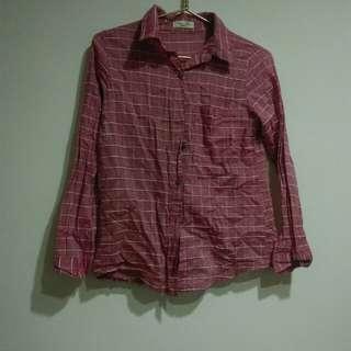 🚚 Queenshop粉色棉麻格子襯衫