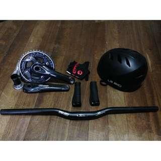 Bike parts helmet handlebar crankset Shimano deore