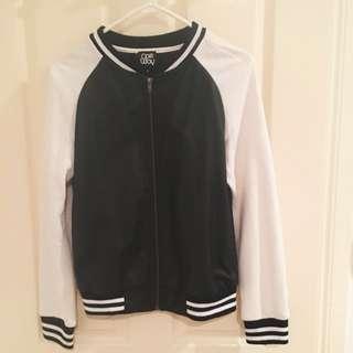 Black and White Varsity Pleather Jacket