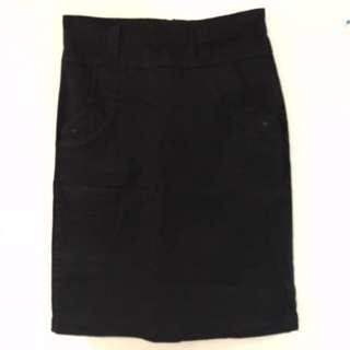Black Denim Office Skirt