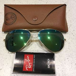 Authentic Rayban Aviator Green lens