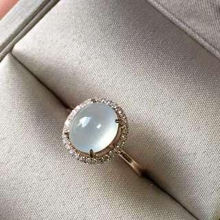 18k鑲鑽翡翠戒指