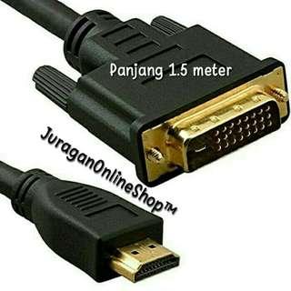 Kabel HDMI (M) Male to DVI-D Pin (24+1) (M) Male panjang 1.5 Meter