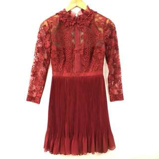 Marchesa Notte burgundy red lace dress size 2