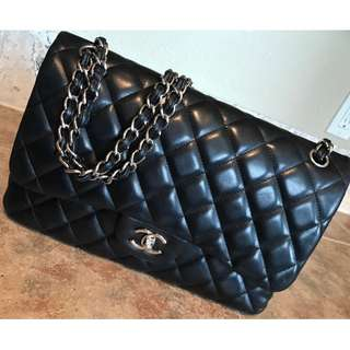 米蘭直送 Chanel Classic Jumbo Black Lambskin Double Flap Bag Silver Hardware 銀CC扣 手袋