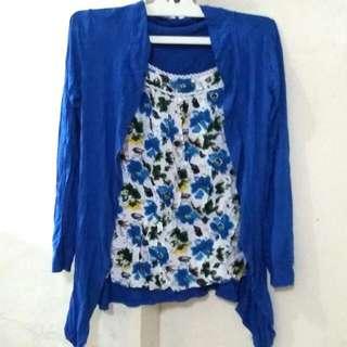 Baju Atasan Biru Bunga
